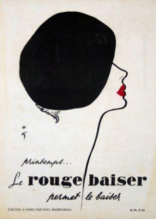 Литография Gruau - Le Rouge  Baiser  Permet le Baiser
