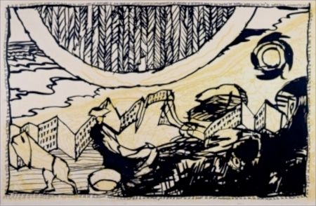 Акватинта Alechinsky - Le Siege de Nieuport