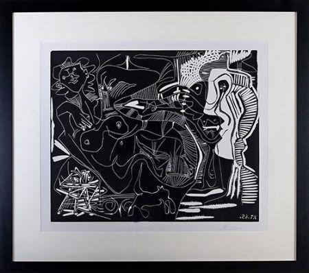 Линогравюра Picasso - Le Thé: Deux Femmes Nues et une Chat (B. 1851)
