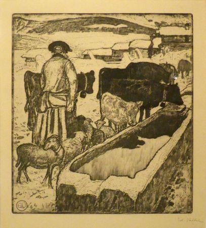 Офорт И Аквитанта Vallet - Le troupeau à l'abreuvoir / Die Herde an der Tränke