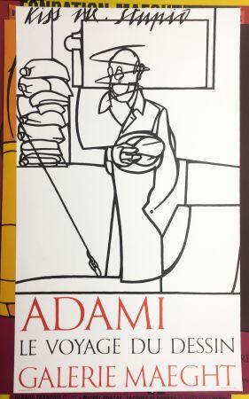 Литография Adami - LE VOYAGE DU DESSIN. Adami 1975 (affiche originale).