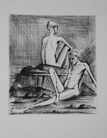 Гравюра Сухой Иглой Buffet - L'enfer de Dante / Deux Damnés