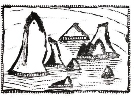 Литография Alechinsky - Les Aiguilles de Belle-Ile, Ier état