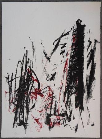 Литография Mitchell - Les arbres en rouge