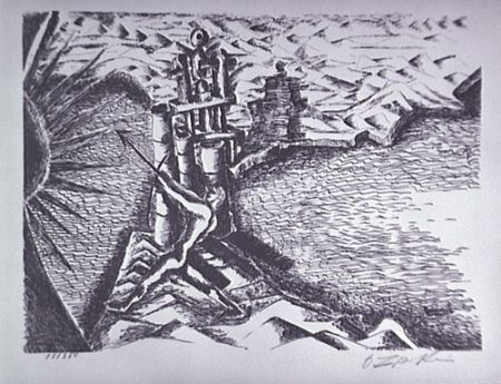 Литография Zadkine - Les Colonnes d'Hercule