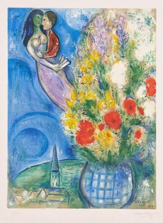 Литография Chagall - Les Coquelicots (Red Poppies)