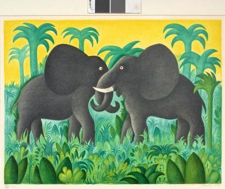 Литография Scherfig - Les deux éléphants