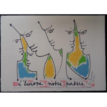 Литография Cocteau - Les fondateurs de l'Europe