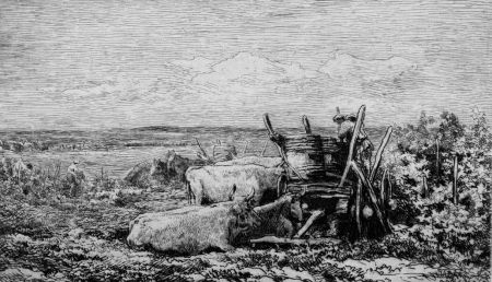 Офорт Daubigny - Les vendanges. (Souvenir du Morvan)