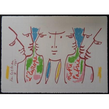 Литография Cocteau - L'Europe notre patrie 2