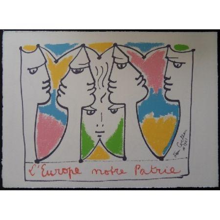 Литография Cocteau - L'Europe pont des civilisations