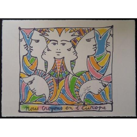 Литография Cocteau - L'Europe tournée vers le monde
