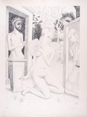 Литография Delvaux - L'Eventail