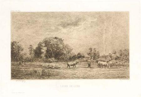 Гравюра Daubigny - Lever de lune