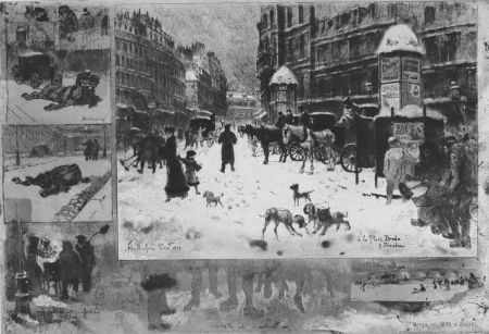 Офорт Buhot - L'hiver e 1879 à Paris