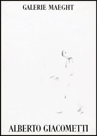 Литография Giacometti - L'HOMME QUI MARCHE (1957). Affiche lithographique pour une exposirion à la Galerie Maeght.