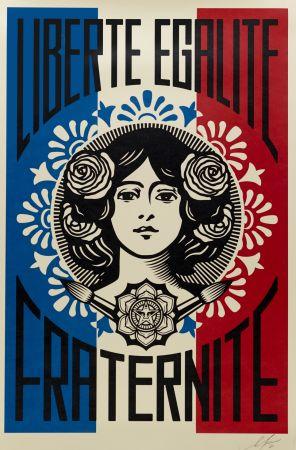 Сериграфия Fairey -  Liberté, Egalité, Fraternité