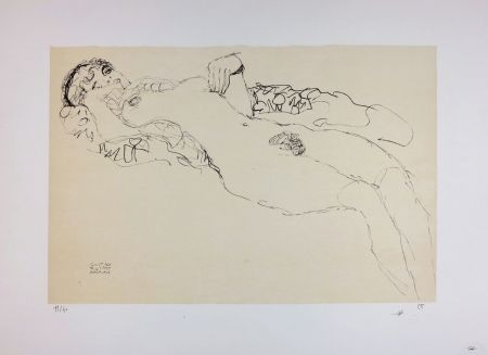 Литография Klimt - Liegender Mädchenakt nach links / Reclining female nude facing left - 1914