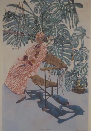 Литография Szafran - Lilette à la chaise de Gaudi.