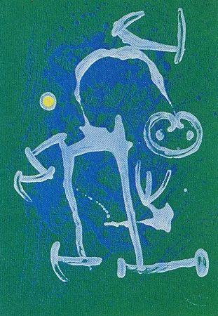 Литография Miró - L'Illettré bleu & blanc