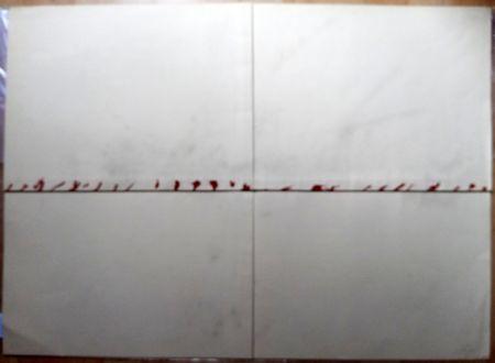 Литография Tàpies - Litografía Doblada en Rojo y Gris