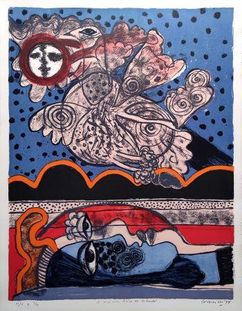 Литография Corneille - L'oiseau îvre de liberté