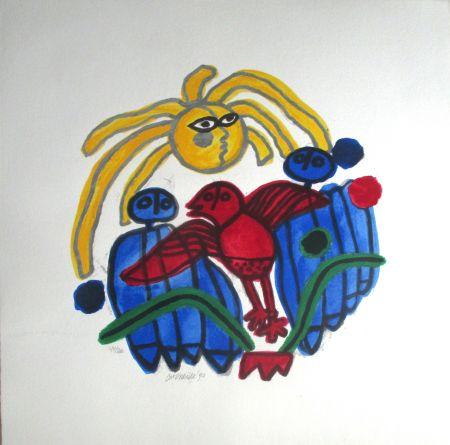 Литография Corneille - L'oiseau rouge