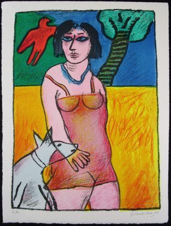 Литография Corneille - L'oiseau Rouge Et Le Chien