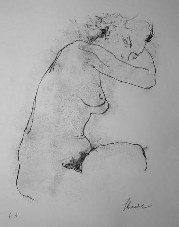 Литография Bonabel - Louis-Ferdinand Céline - Litographie Originale / Original Lithograph - Autoportrait / Self-Portrait - Nu Feminin / Male Nude - 1945