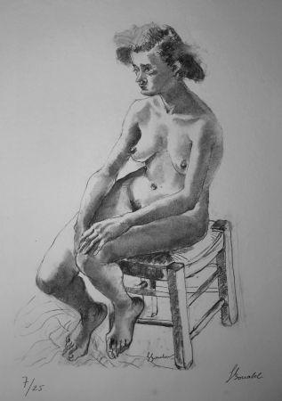 Литография Bonabel - Louis-Ferdinand Céline - Nu Feminin - Female Nude - 1938