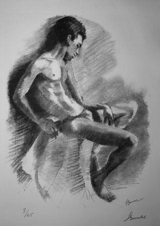 Литография Bonabel - Louis-Ferdinand Céline - NU MASCULIN / MALE NUDE - 1938
