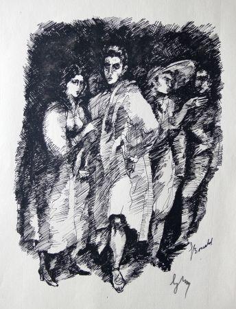Гравюра Bonabel -  Louis-Ferdinand Céline / Lucette Almansor - Gravure Originale - Répétion ballet en costume