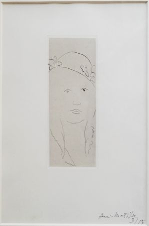 Гравюра Matisse - Loulou au chapeau fleuri