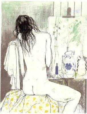 Литография Jansem - Lydia de dos dans l'atelier