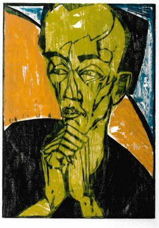 Гравюра На Дереве Heckel - Männerbildnis / Self-Portrait