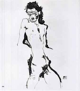 Литография Schiele - Männlicher Akt