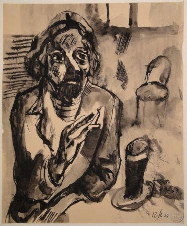 Нет Никаких Технических Schürch - Männliches Porträt (Selbstporträt) mit Glas und Stuhl