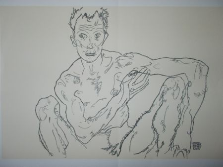 Литография Schiele - Male nude