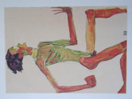 Литография Schiele - Male nude in profil