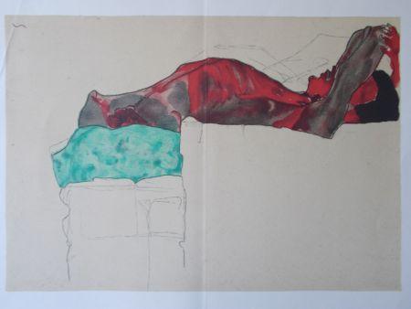 Литография Schiele - Male nude with green cloth