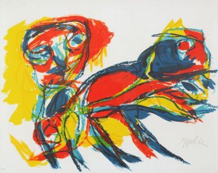 Литография Appel - Man and Red Beast