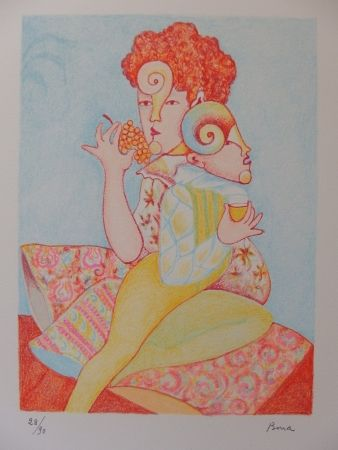 Литография Bona - Mangeuse de raisin, buveur de vin