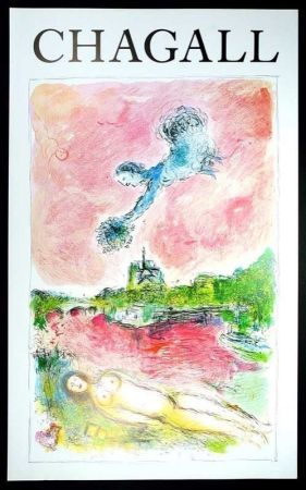 Афиша Chagall - Marc Chagall - Vue Sur Notre Dame. Cartel Exposicion 79 X 48 Cm