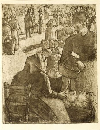 Гравюра Pissarro - Marché aux légumes, à Pontoise