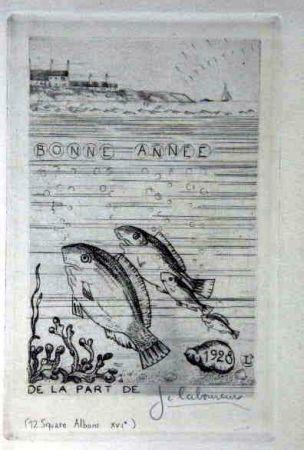 Офорт Laboureur - Marine aux quatre poissons