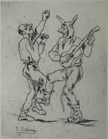 Офорт Gutiérrez Solana  - Mascaras bailando con guitarra