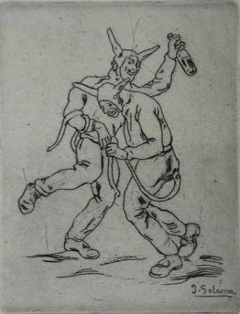 Офорт Gutiérrez Solana  - Mascaras diablos bailando