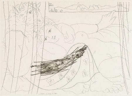 Офорт Picasso - Minotaure et femme derriere un rideu