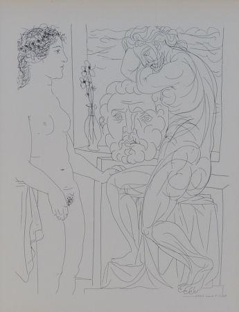Литография Picasso - Modèle nu et Sculptures