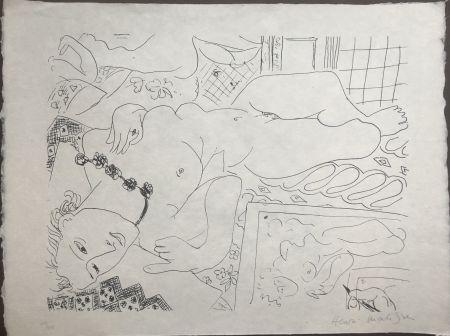 Литография Matisse - Modèle refleté dans le miroir avec la main de l'artiste 45x60 CAHIERS D'ART